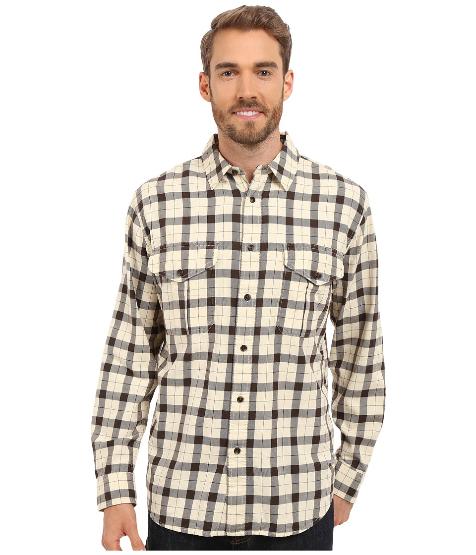 Filson - Lightweight Alaskan Guide Shirt (Cream/Deep Brown) Men's Long Sleeve Button Up
