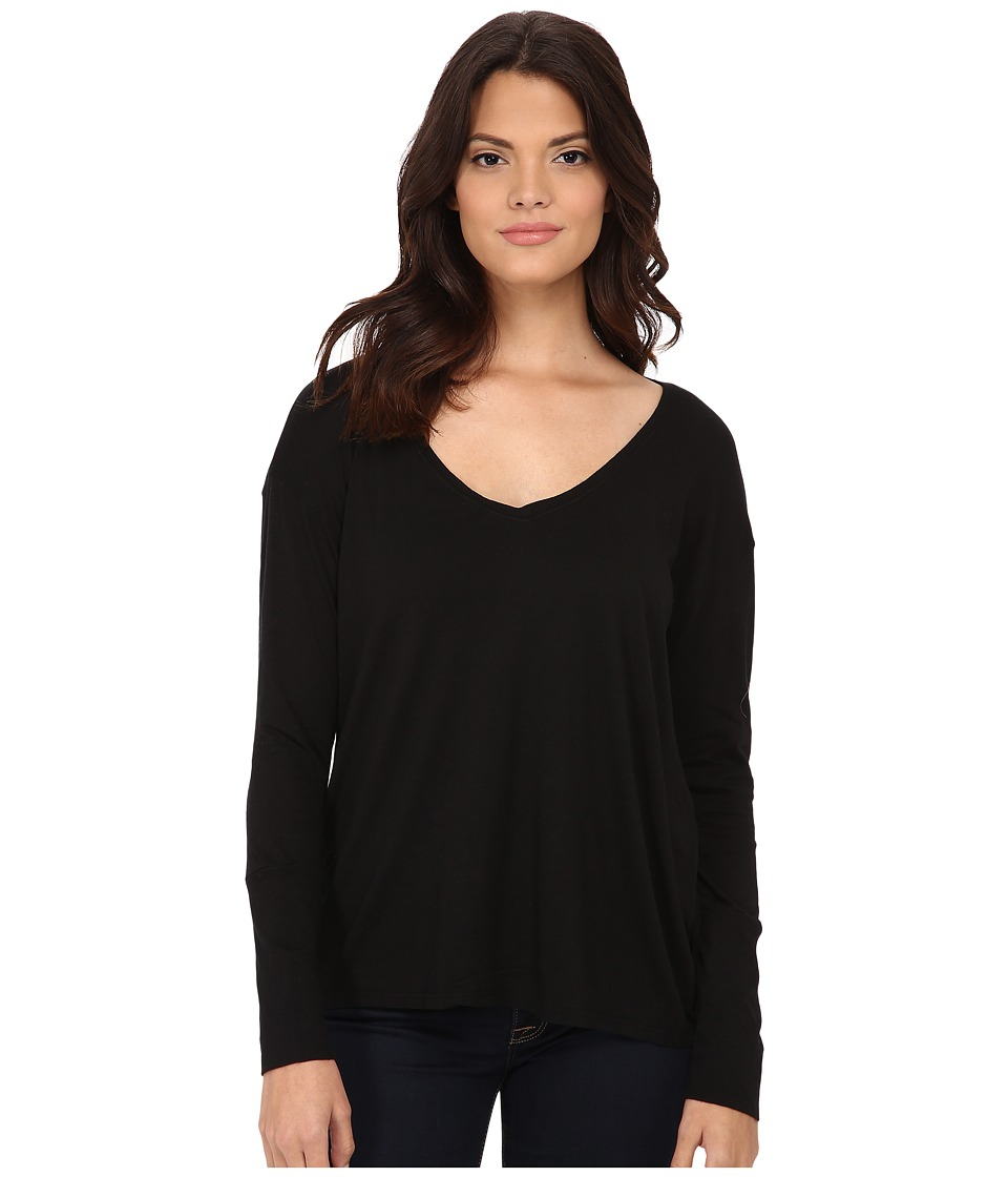 Michael Stars - Luxe Slub Long Sleeve Vee Neck w/ Cuff (Black) Women's Clothing