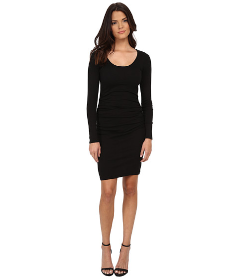 Michael Stars - Shine Long Sleeve Scoop Neck Dress w/ Shirring (Black) Women's Dress
