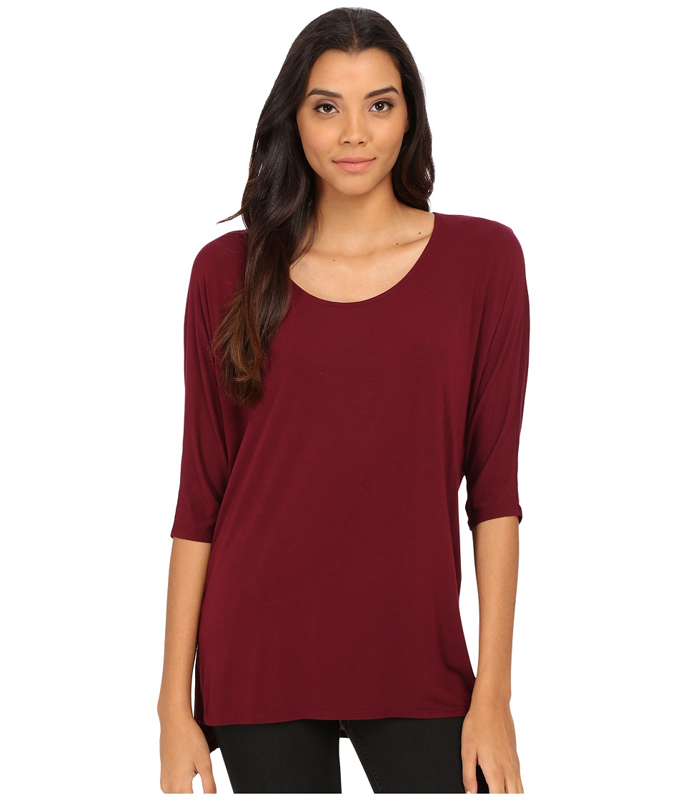 Michael Stars - Jersey Lycra Elbow Sleeve Tunic Top (Pinot) Women's Short Sleeve Pullover