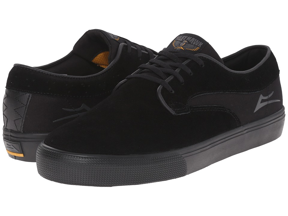 Lakai - Riley Hawk (Black/Black Suede) Men's Skate Shoes