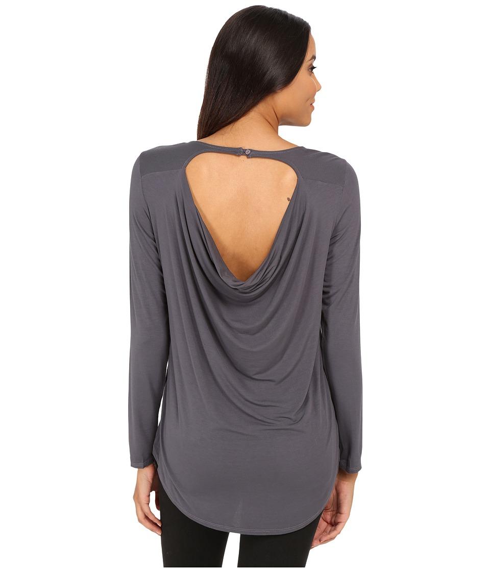 Michael Stars - Jersey Lycra Long Sleeve Crew w/ Back Drape (Oxide) Women's T Shirt