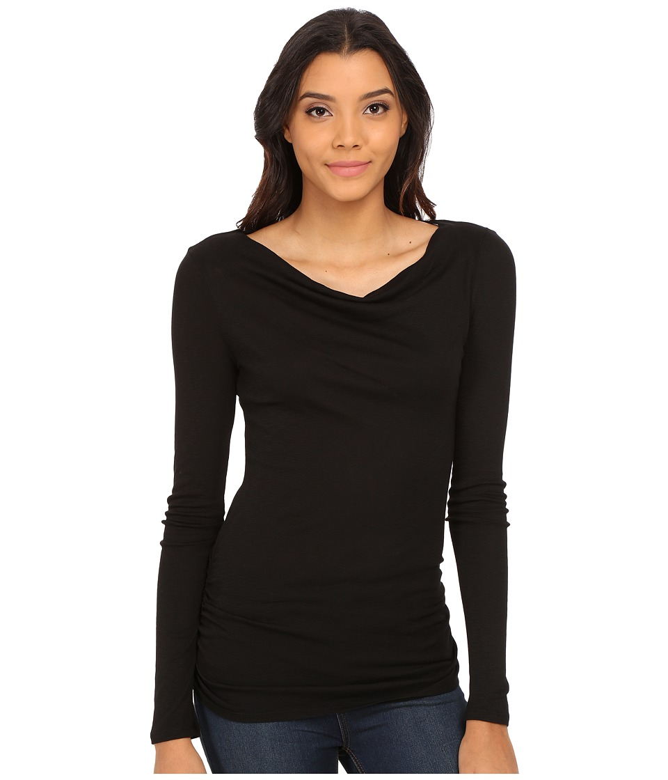 Michael Stars - Slub Long Sleeve Drape Neck w/ Shirring (Black) Women's Clothing