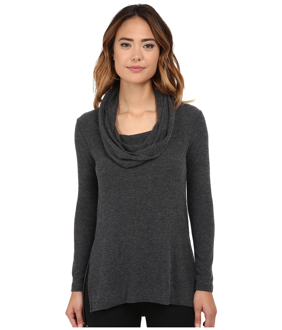 Michael Stars Super Soft Madison Jersey Cowl Neck Tunic (Charcoal) Women