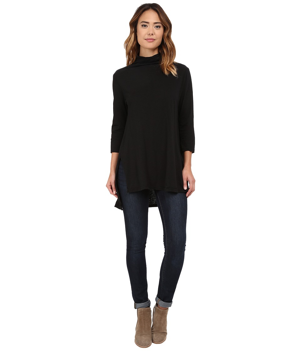 Michael Stars - Supima Slub Jersey 3/4 Sleeve Mock Neck Tunic (Black) Women's Blouse