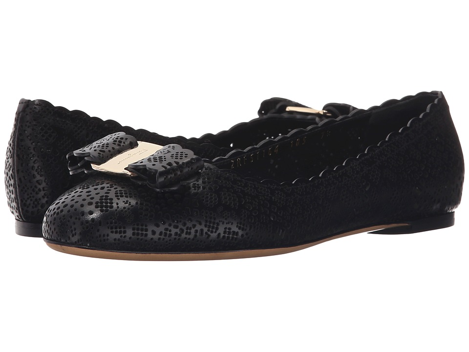 Salvatore Ferragamo - Varina Lasercut (Nero) Women's Shoes