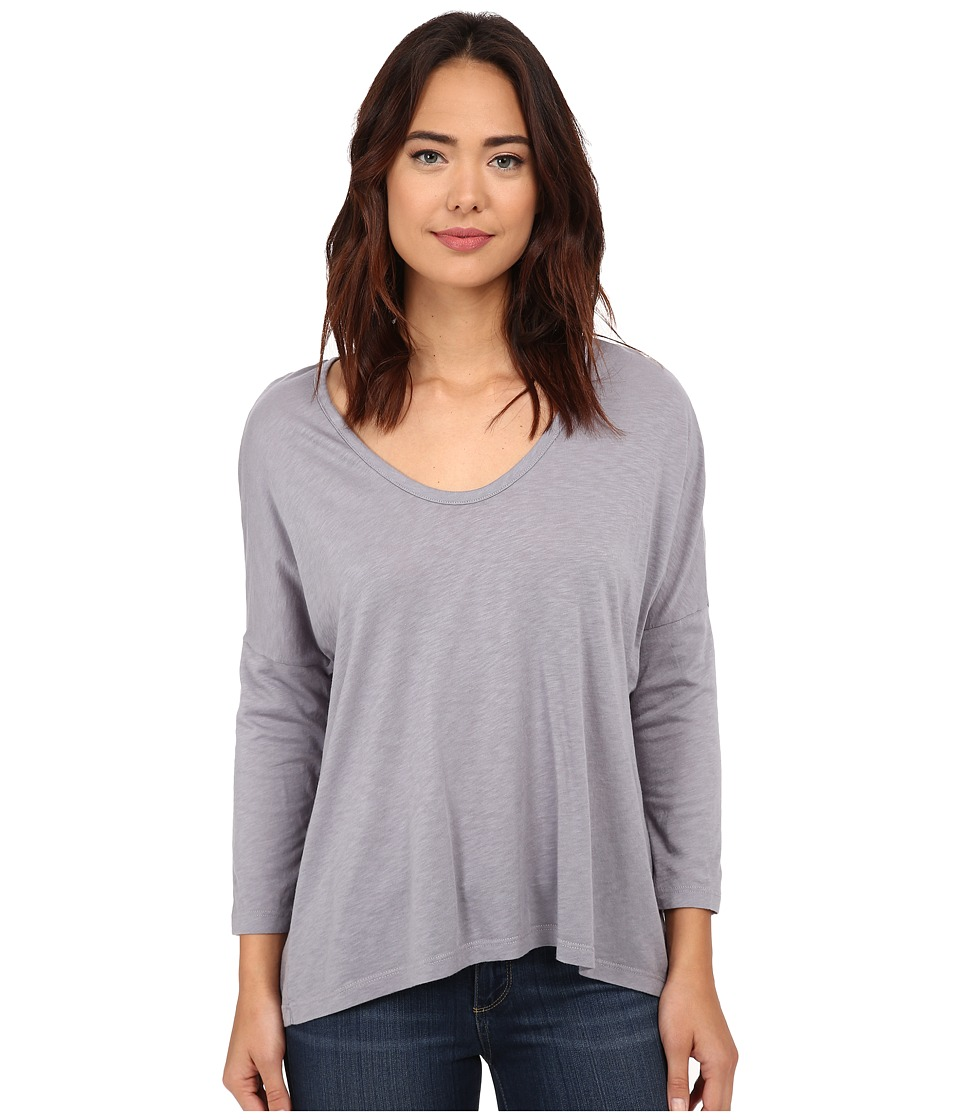 Michael Stars Luxe Slub 3/4 Sleeve Scoop Neck Hi Low (Cinder) Women