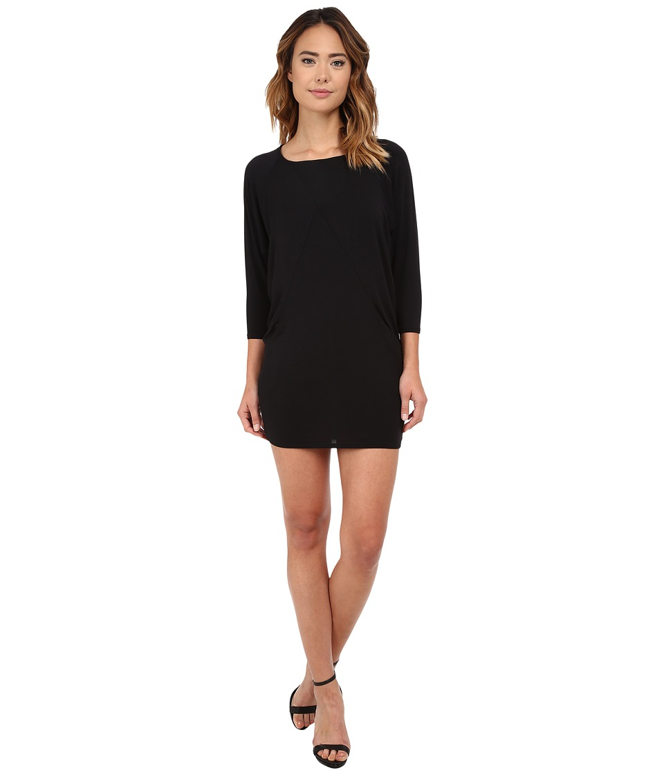 Michael Stars - 3/4 Sleeve Crew Neck Dress (Black) Women's Dress