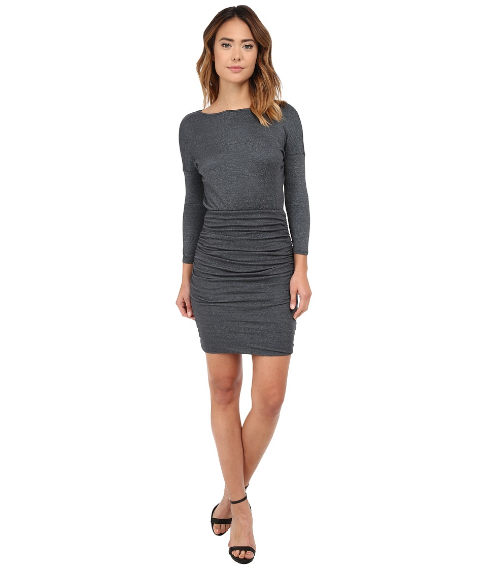 Michael Stars Shine 3/4 Sleeve Wide Neck Dress w/ Shirring (Oxide) Women