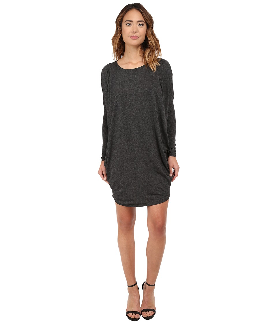 Michael Stars - Milano Jersey Long Sleeve Drape Dress w/ Pockets (Charcoal) Women's Clothing