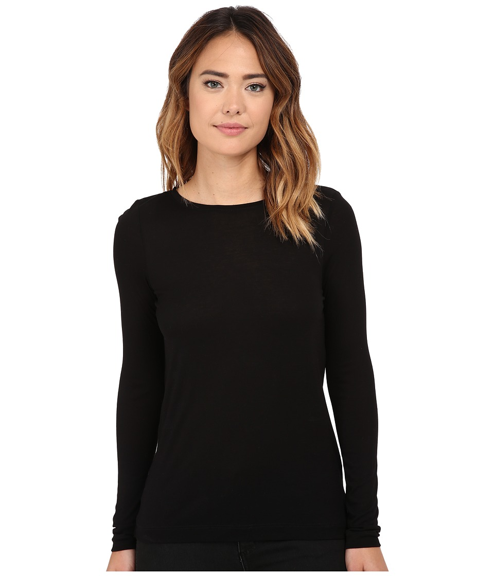 Michael Stars - Milano Jersey Long Sleeve Crew Neck w/ Draped Back (Black) Women's Blouse