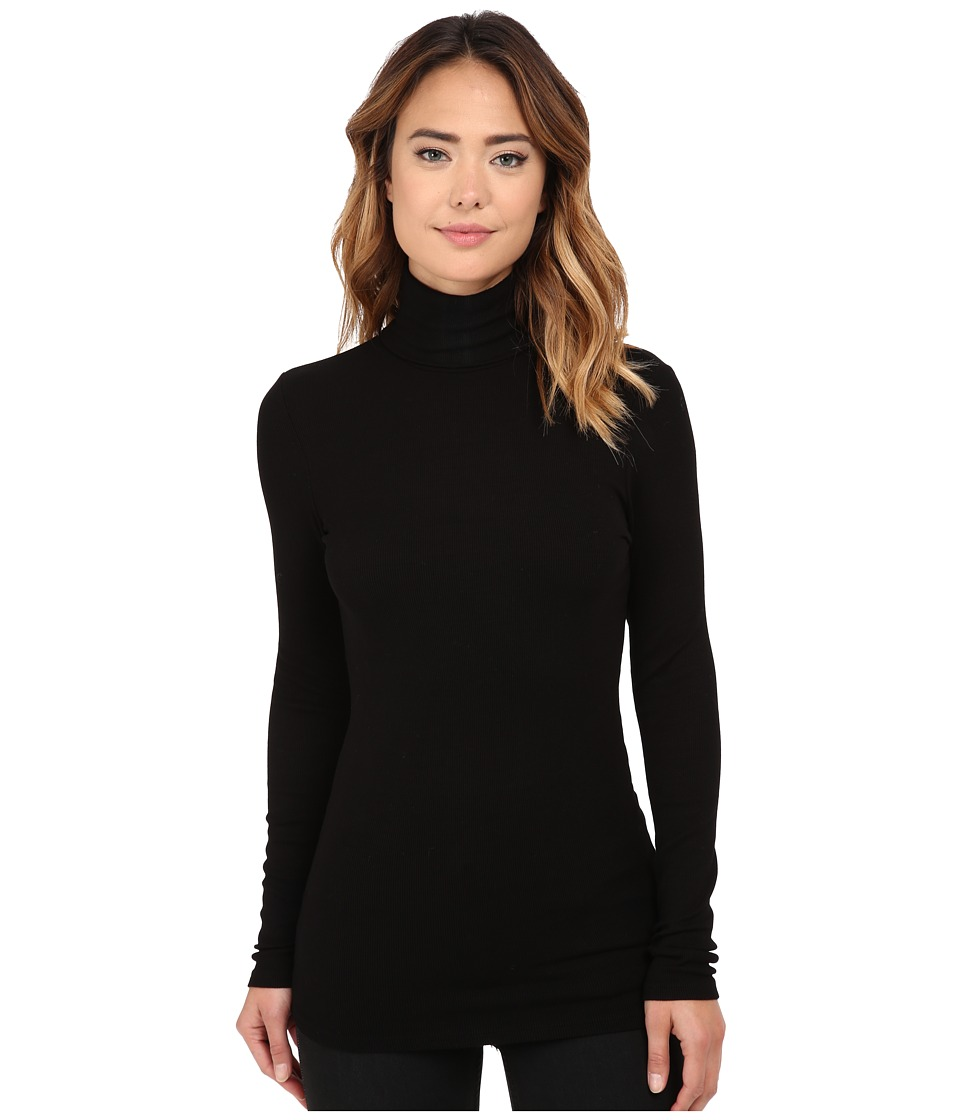 Michael Stars - 2x1 Rib Long Sleeve Turtleneck (Black) Women's Clothing