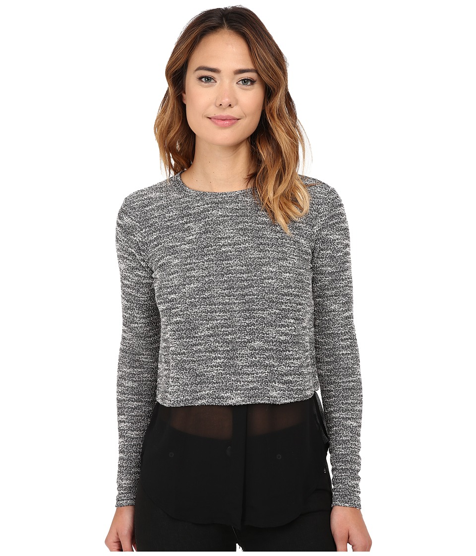 Michael Stars - Tweed Knit Long Sleeve Crew Neck w/ Chiffon (Tweed) Women's Clothing