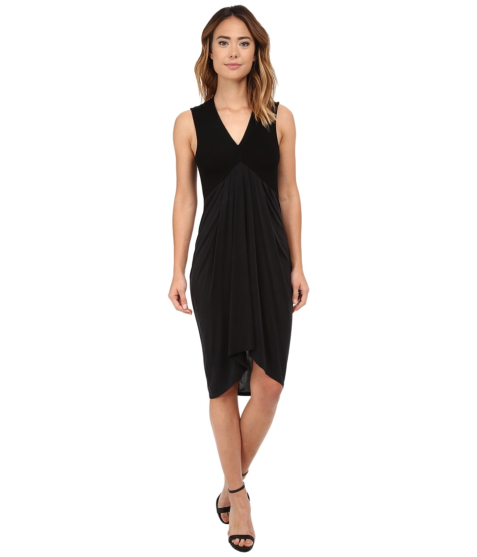 Michael Stars Cupro Sleeveless Vee Neck Draped Dress (Black) Women