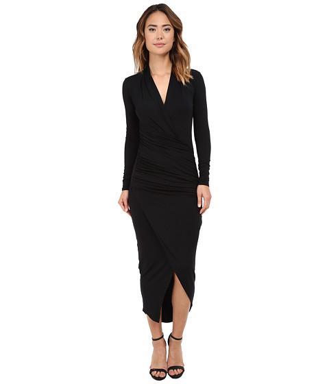 Michael Stars - Long Sleeve Vee Neck Long Dress w/ Shirring (Black) Women's Dress