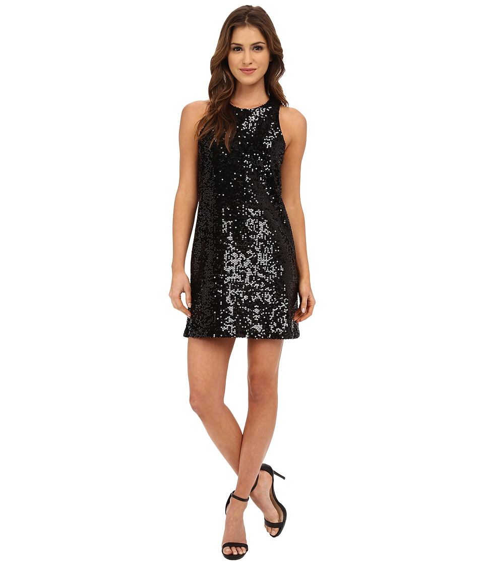Michael Stars Sequin Sleeveless Crew Neck Shift Dress (Black) Women
