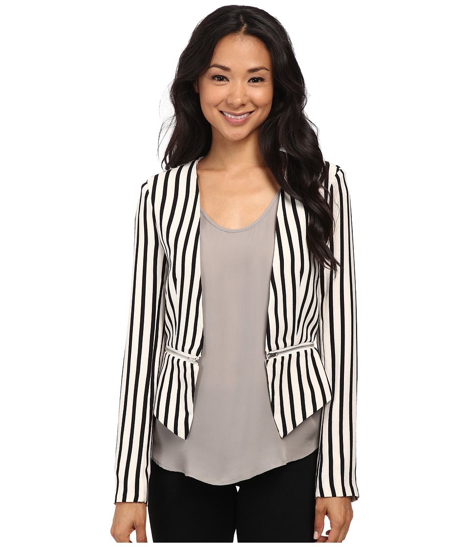 Brigitte Bailey - Roxanne Zip Bottom Blazer (Black/White) Women