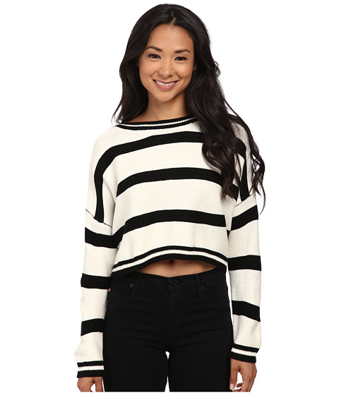 Gabriella Rocha - Jan Stripe Crop Sweater (Ivory/Black) Women's Sweater