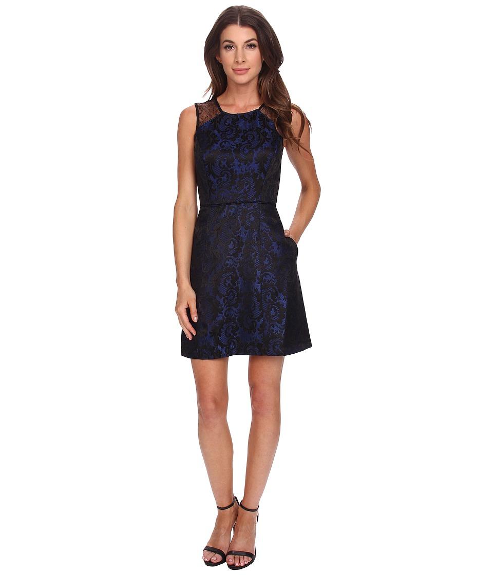 Aidan Mattox Scroll Jacquard Dress with Lace Detail (Blue/Black) Women