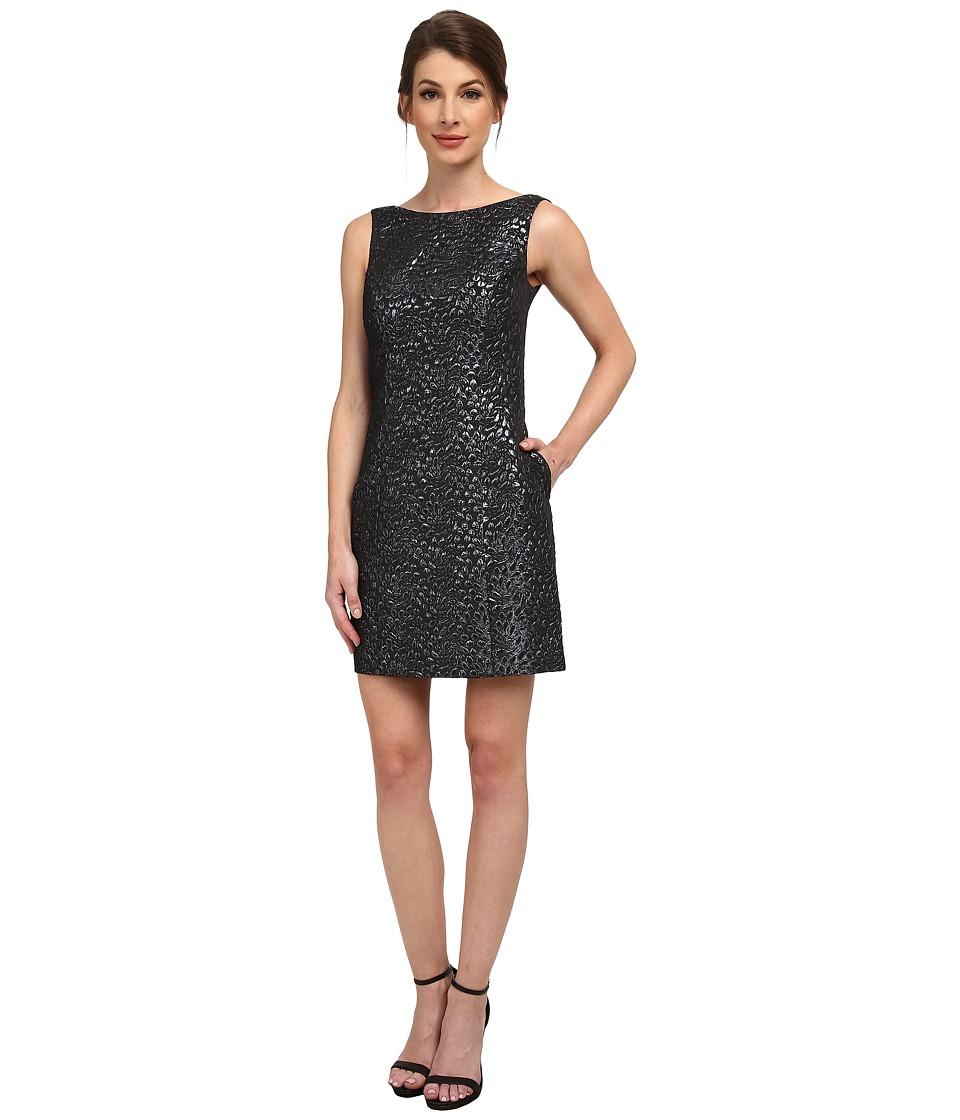 Aidan Mattox - Sleeveless Foil Jacquard Dress (Gunmetal) Women's Dress