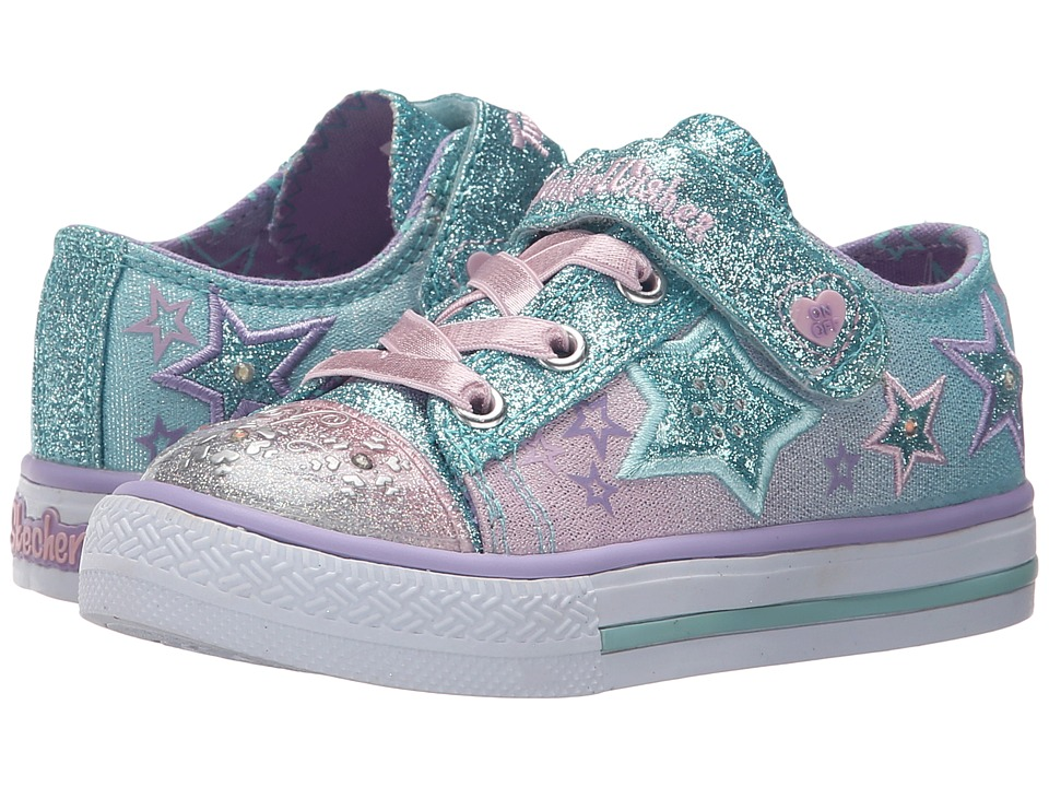 SKECHERS KIDS - Enchanters 10539N Lights (Toddler) (Light Blue/Pink) Girls Shoes