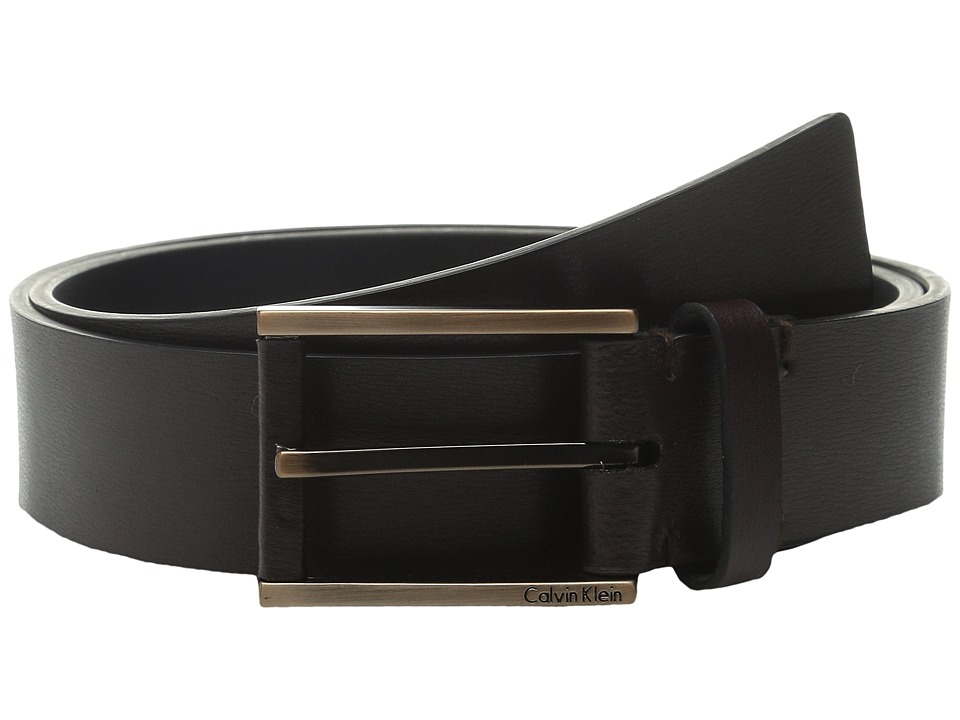 Calvin Klein - 35mm Flat Strap and Harness Buckle Belt with Leather Wrapped Nose and Engraved Logo (Brown) Men's Belts