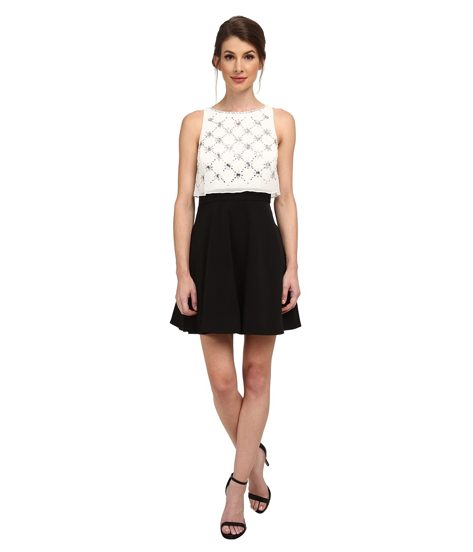Aidan Mattox Beaded Popover Top with Solid Skirt (Black/Ivory) Women