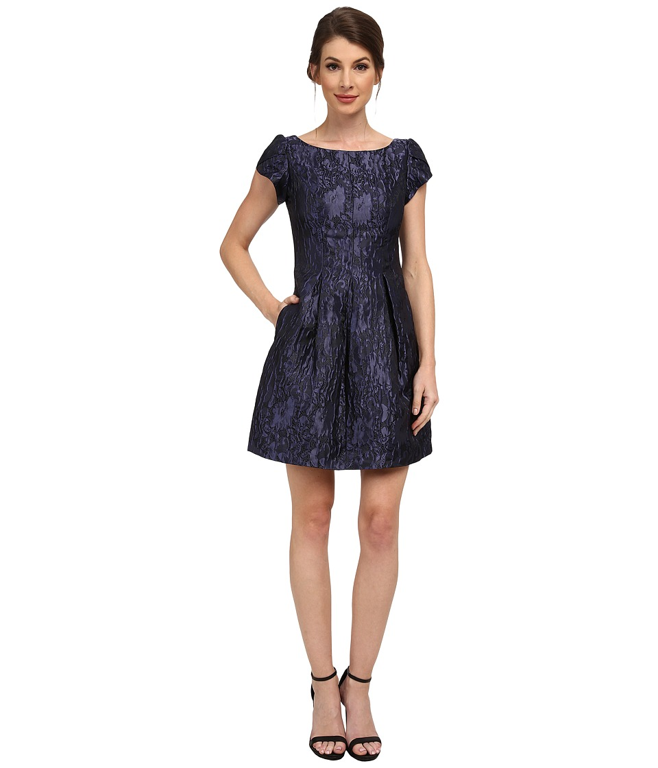 Aidan Mattox Short Sleeve Jackquard Cocktail Dress (Midnight) Women