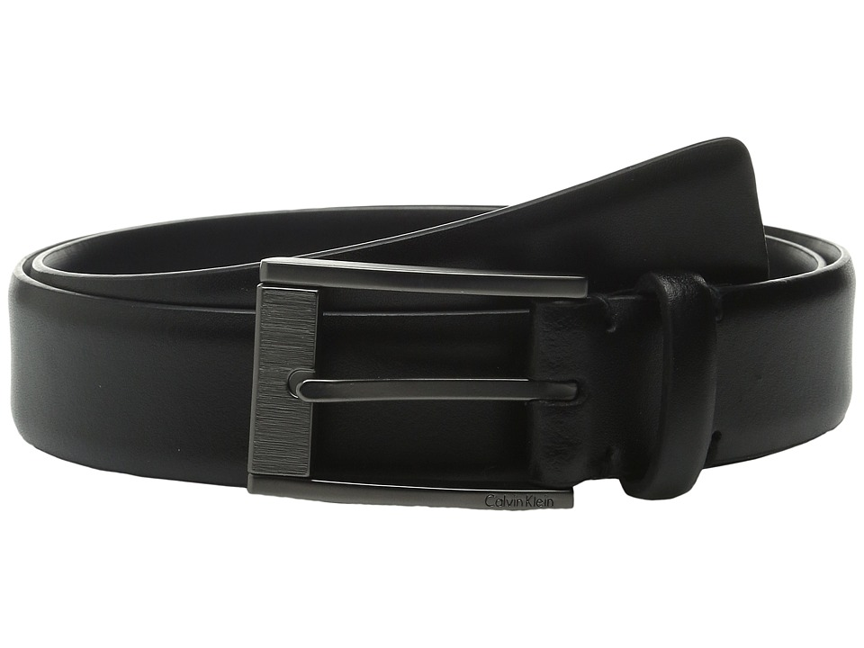 Calvin Klein - 35mm Feather Edge Strap and Harness Buckle Belt (Black) Men's Belts