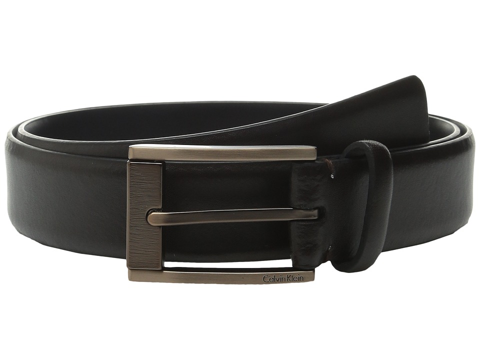 Calvin Klein - 35mm Feather Edge Strap and Harness Buckle Belt (Chocolate) Men's Belts