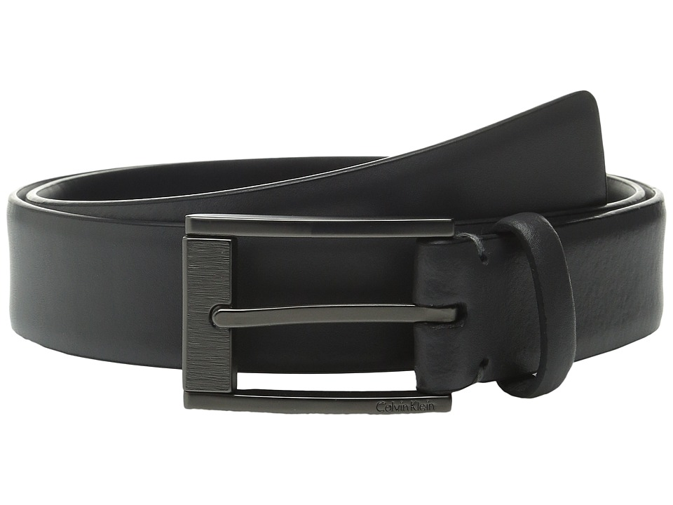 Calvin Klein - 35mm Feather Edge Strap and Harness Buckle Belt (Grey) Men's Belts