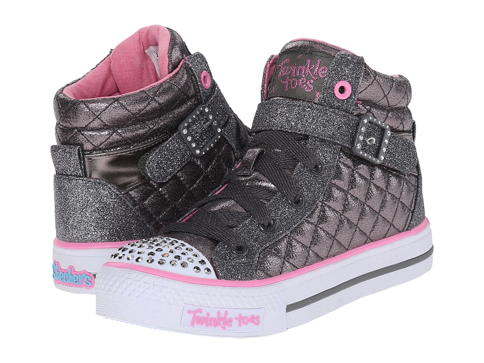 SKECHERS KIDS - Twinkle Toes - Shuffles (Little Kid/Big Kid) (Gunmetal) Girl's Shoes