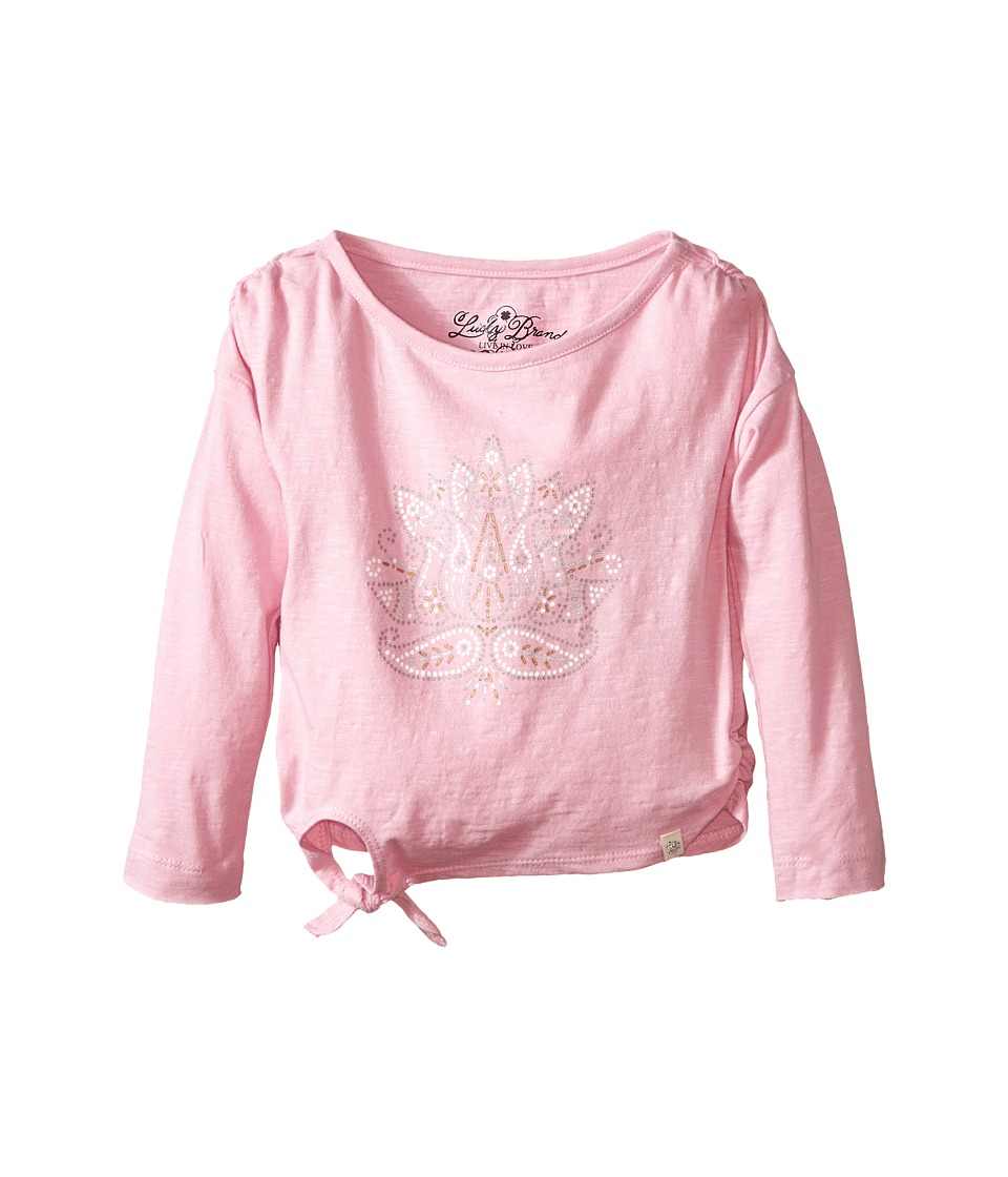 Lucky Brand Kids - Long Sleeve Lotus Stud Tee (Toddler) (Cameo Pink) Girl