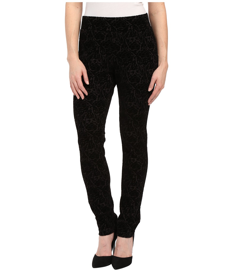 NYDJ Petite - Petite Joanie Skinny Pull On Leggings (Black Primrose Flocking) Women's Casual Pants