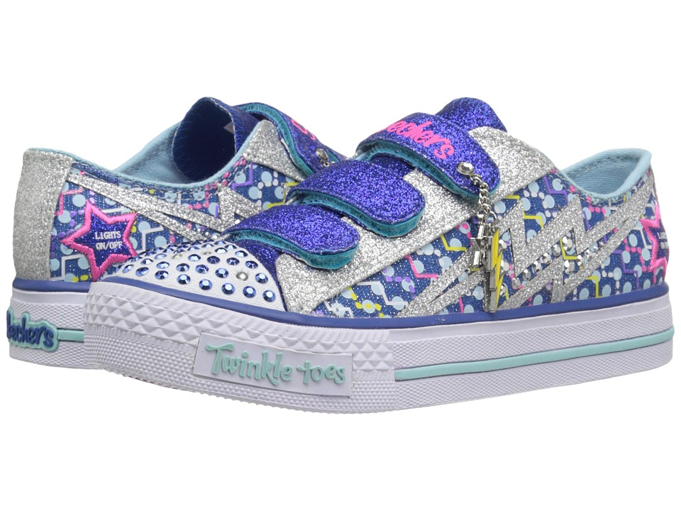 SKECHERS KIDS - Shuffles 10599L Lights (Little Kid/Big Kid) (Royal/Silver) Girls Shoes