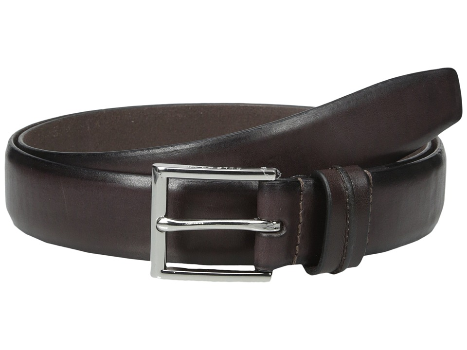 Cole Haan - 32mm Burnished Leather Harness Buckle Belt (Dark Brown) Men's Belts