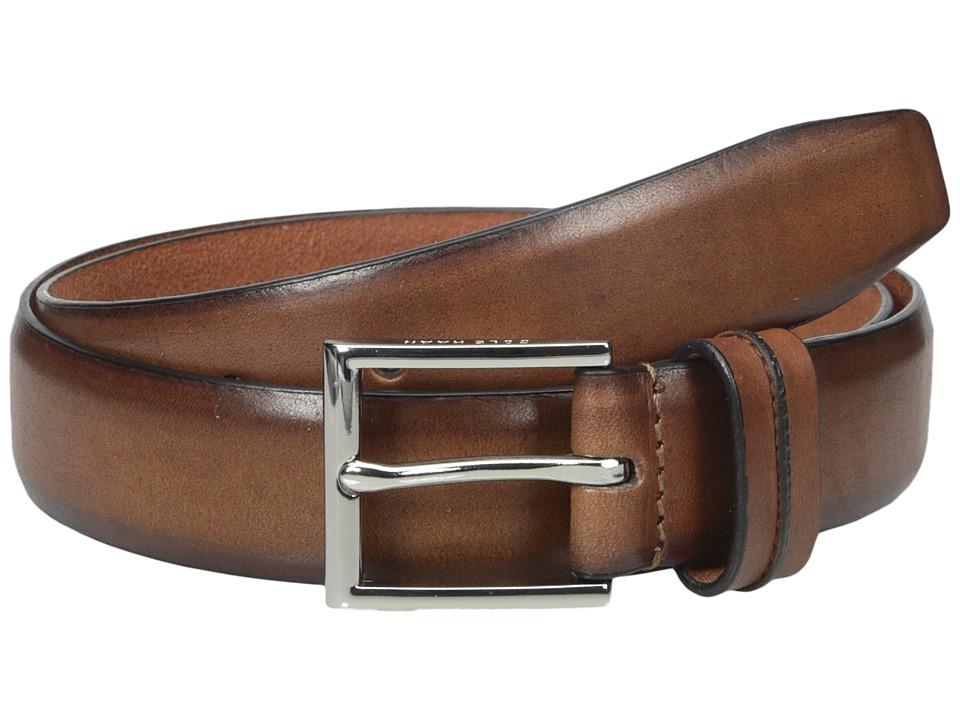 Cole Haan - 32mm Burnished Leather Harness Buckle Belt (Tan) Men's Belts