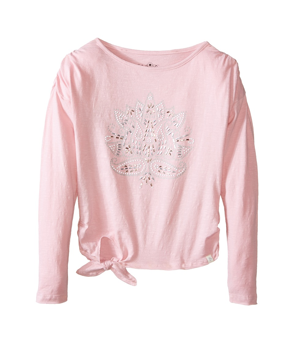 Lucky Brand Kids - Long Sleeve Lotus Stud Tee (Little Kids) (Cameo Pink) Girl