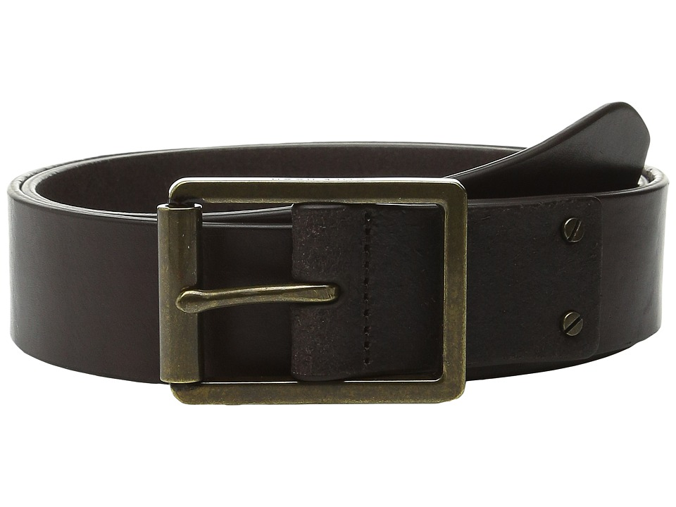 Cole Haan - 35mm Smooth Leather Belt with Center Bar Buckle (Dark Brown) Men's Belts