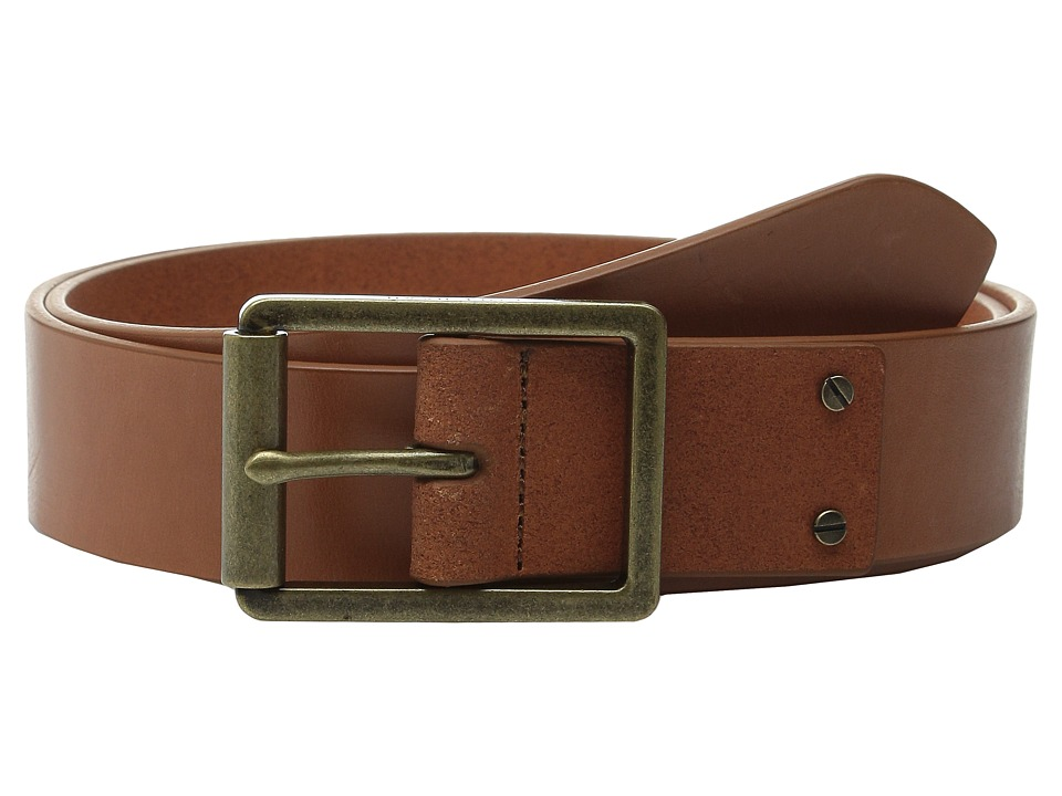 Cole Haan - 35mm Smooth Leather Belt with Center Bar Buckle (Tan) Men's Belts