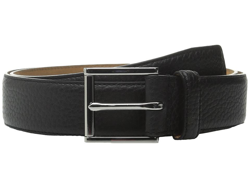 Cole Haan - 32mm Stitched Edge Pebble Leather Belt (Black) Men's Belts