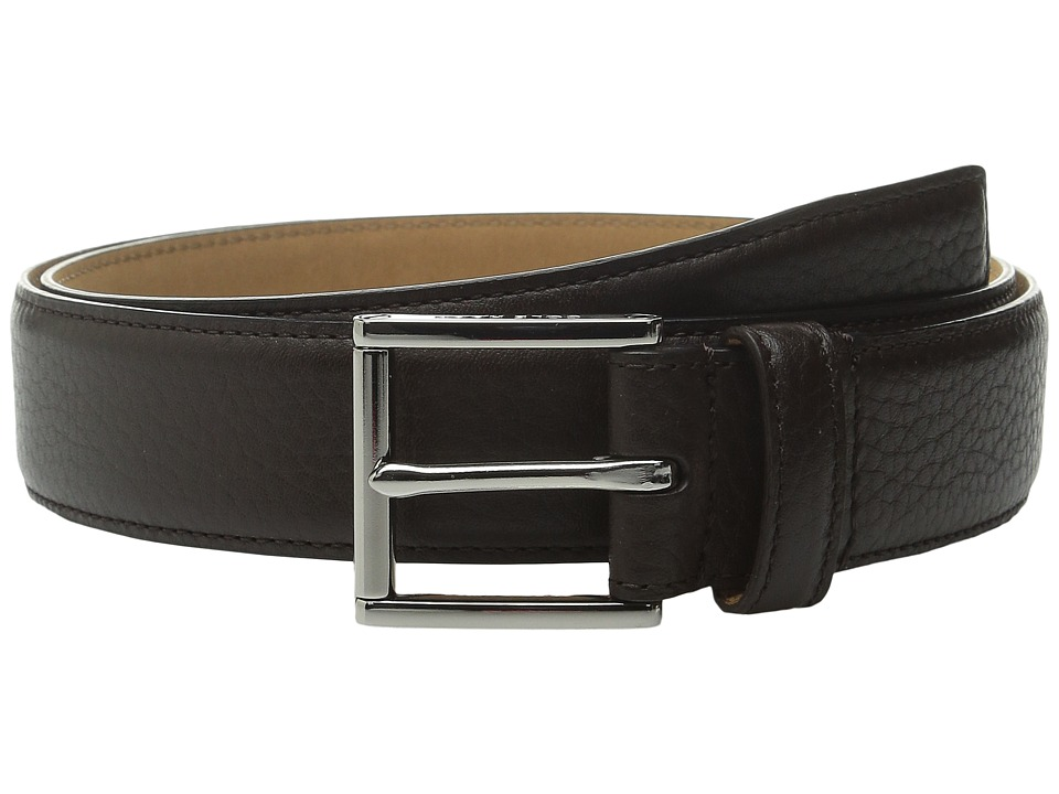 Cole Haan - 32mm Stitched Edge Pebble Leather Belt (Dark Brown) Men's Belts