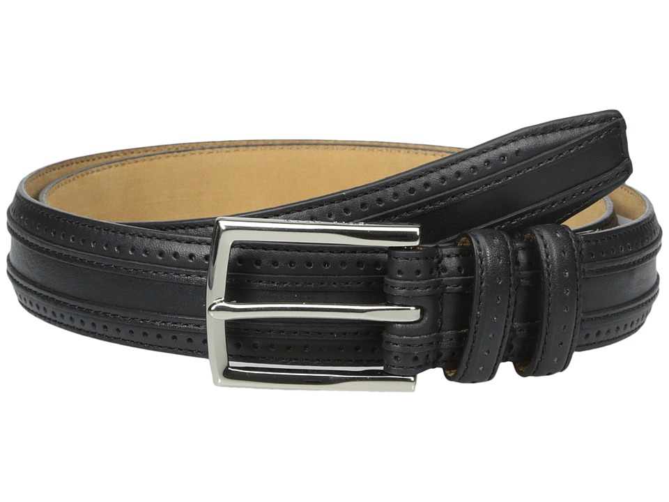 Cole Haan - 30mm Feather Edge Stitched Strap with Perforation and Overlay Detail (Black) Men's Belts