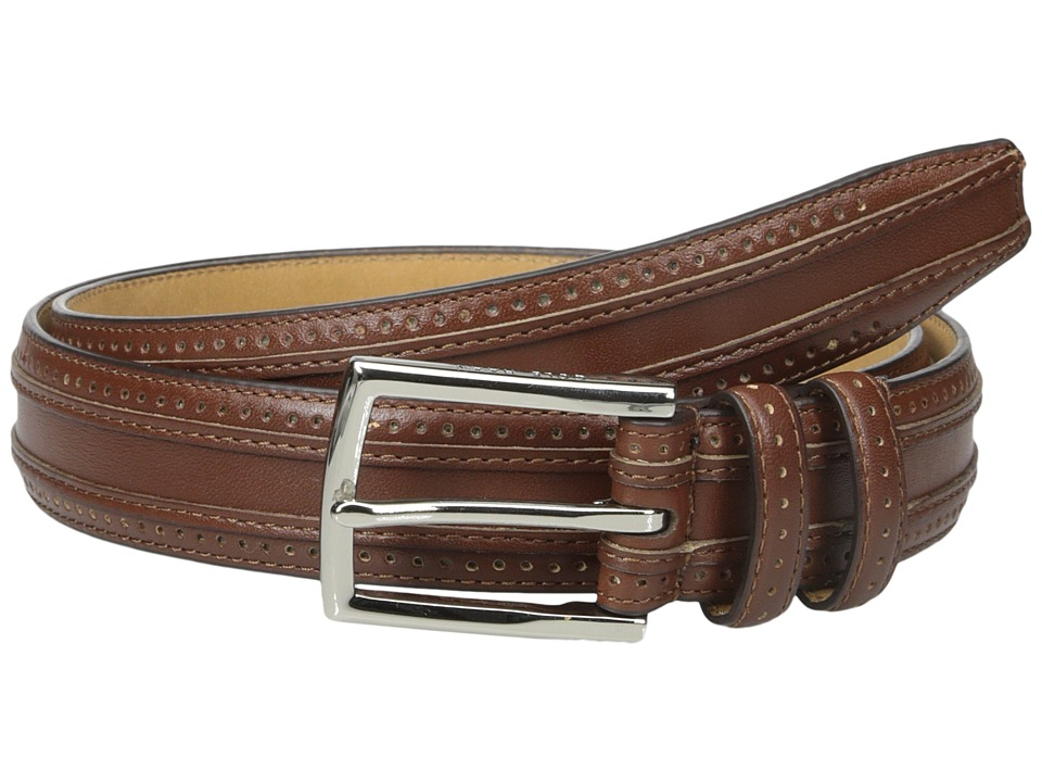 Cole Haan - 30mm Feather Edge Stitched Strap with Perforation and Overlay Detail (Tan) Men's Belts