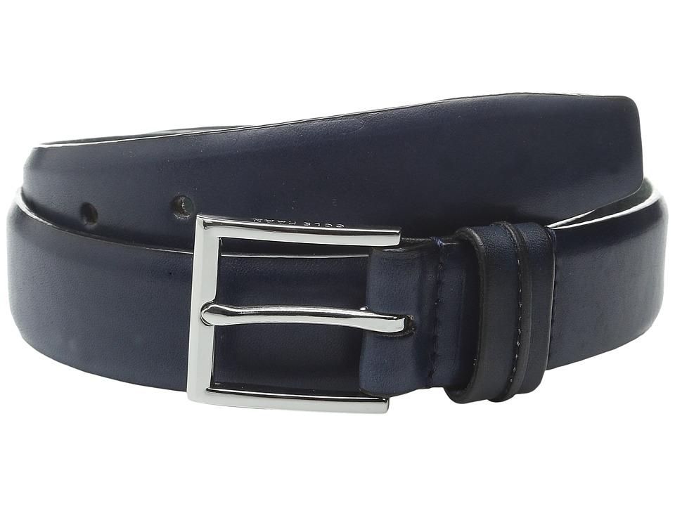 Cole Haan - 32mm Burnished Leather Harness Buckle Belt (Navy) Men's Belts