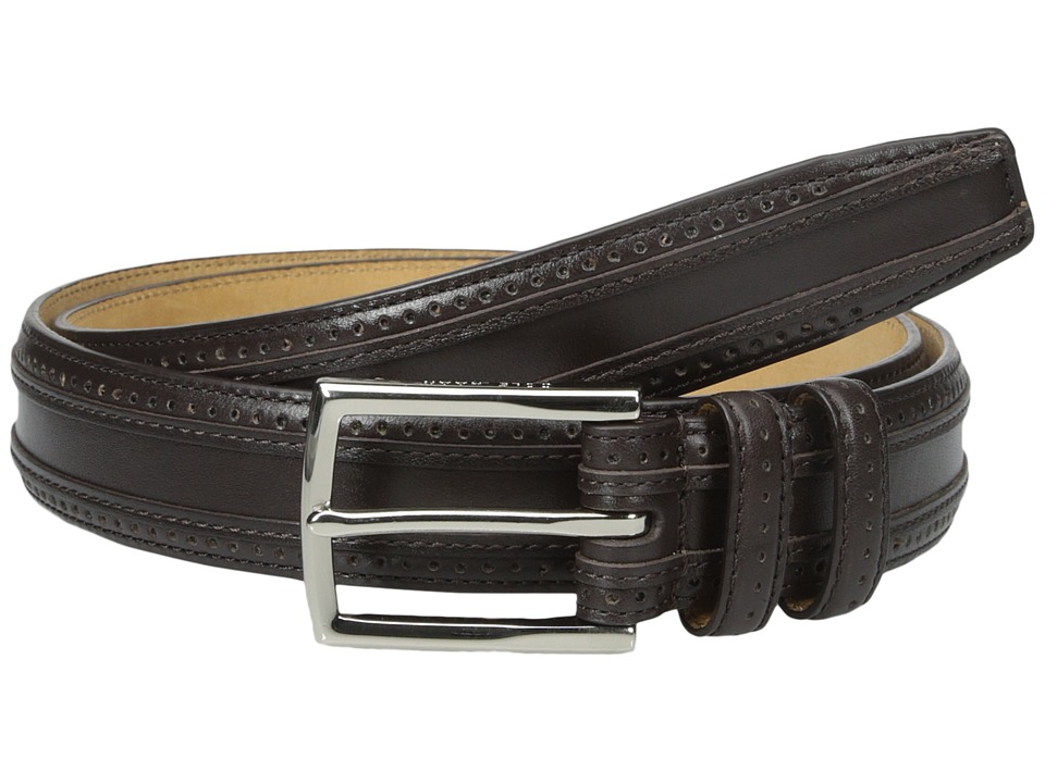 Cole Haan - 30mm Feather Edge Stitched Strap with Perforation and Overlay Detail (Dark Brown) Men's Belts