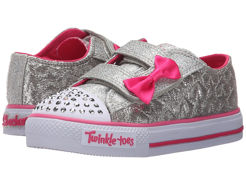 SKECHERS KIDS - Twinkle Toes - Shuffles 10600N Lights (Toddler/Little Kid) (Silver/Hot Pink) Girls Shoes