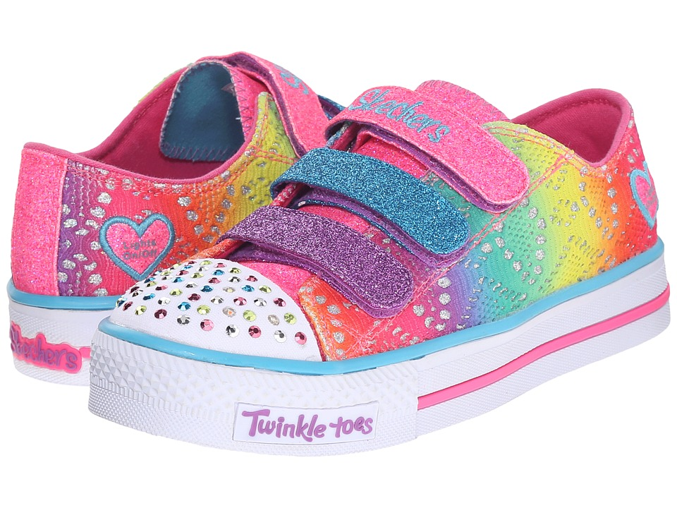SKECHERS KIDS - Twinkle Toes - Shuffles 10612L Lights (Little Kid/Big Kid) (Multi) Girls Shoes
