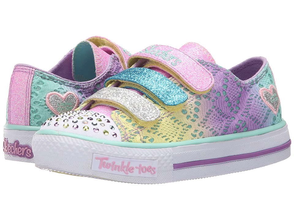 SKECHERS KIDS - Twinkle Toes - Shuffles 10612L Lights (Little Kid/Big Kid) (Lavendar/Multi) Girls Shoes