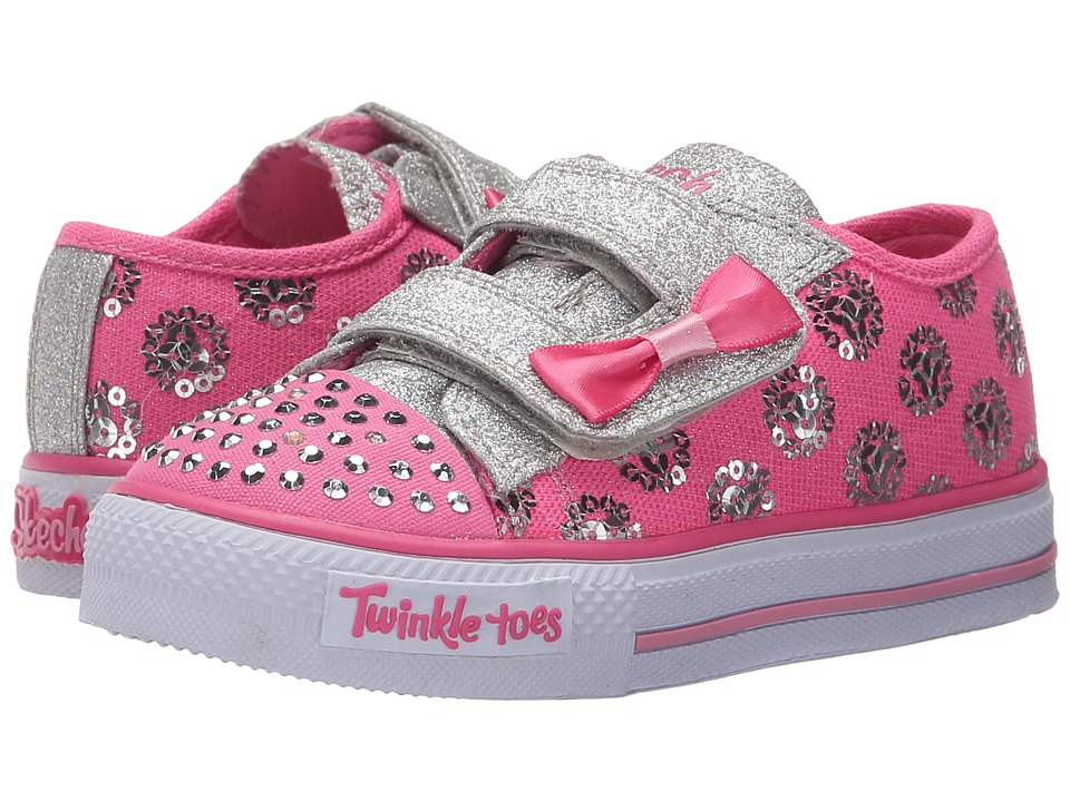 SKECHERS KIDS - Twinkle Toes - Shuffles 10614N Lights (Toddler/Little Kid) (Hot Pink/Silver) Girls Shoes